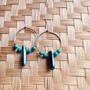 Jewelry - Boho Crystal Beaded Hoop Earrings